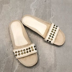 Pedro Garcia Leather and Cloth Studded Slides